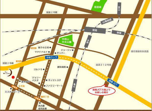 姫路のヘアームーウへのアクセスマップ